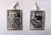 Sterling silver Double sided Rectangular St Christopher Pendant 3.8g